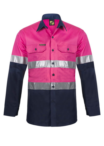 Picture of Lightweight Two Tone Long Sleeve Vented Cotton Drill Shirt