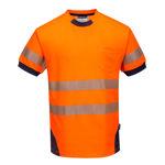 T183-PW3-Hi-Vis-T-Shirt-Orange-Navy