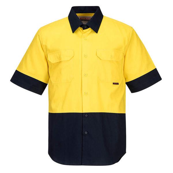 MS902-Hi-Vis-Two-Tone-Regular-Weight-Short-Sleeve-Shirt-Yellow-Navy