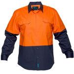 MS901-Hi-Vis-Two-Tone-Regular-Weight-Long-Sleeve-Shirt-Orange-Navy