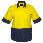 MS802-Hi-Vis-Two-Tone-Lightweight-Short-Sleeve-Shirt-Yellow-Navy