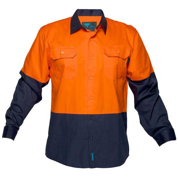 MS801-Hi-Vis-Two-Tone-Lightweight-Long-Sleeve-Shirt-Orange-Navy