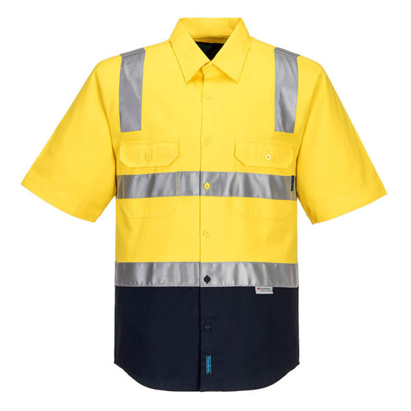 MS102-Hi-Vis-Two-Tone-Regular-Weight-Shirt-with-Tape-Over-Shoulder-Yellow-Navy