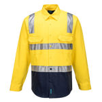 MS101-Hi-Vis-Two-Tone-Regular-Weight-Shirt-with-Tape-Over-Shoulder-Yellow-Navy