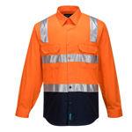 MS101-Hi-Vis-Two-Tone-Regular-Weight-Shirt-with-Tape-Over-Shoulder-Orange-Navy
