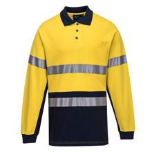 MP619-Long-Sleeve-Cotton-Pique-Polo-with-Tape-Yellow-Navy
