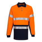 MP619-Long-Sleeve-Cotton-Pique-Polo-with-Tape-Orange-Navy