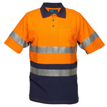 MP618-Short-Sleeve-Cotton-Pique-Polo-with-Tape-Orange-Navy