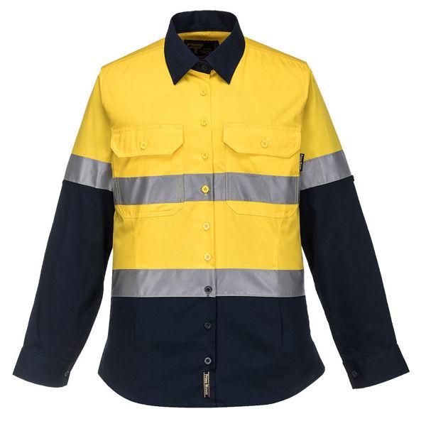 ML808-Ladies-2Tone-Lightweight-Long-Sleeve-Shirt-with-Tape-Yellow-Navy