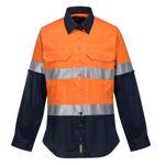 ML808-Ladies-2Tone-Lightweight-Long-Sleeve-Shirt-with-Tape-Orange-Navy