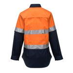 ML808-Ladies-2Tone-Lightweight-Long-Sleeve-Shirt-with-Tape-Orange-Navy-Back