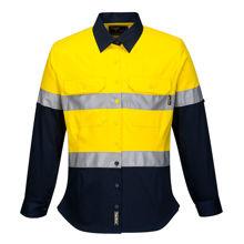ML108-Ladies-2Tone-Regular-Weight-Long-Sleeve-Shirt-with-Tape-Yellow-Navy