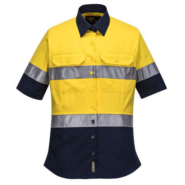 ML109-Ladies-2Tone-Regular-Weight-Short-Sleeve-Shirt-with-Tape-Yellow-Navy