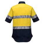 ML109-Ladies-2Tone-Regular-Weight-Short-Sleeve-Shirt-with-Tape-Yellow-Navy-Back