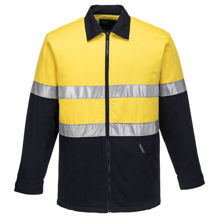 MJ987-Quilt-Padded-Cotton-Drill-Jacket-Yellow-Navy