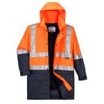 MJ208-Fleece-Lined-Rain-Jacket-Orange-Navy