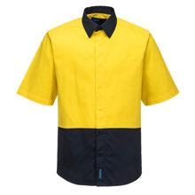 MF152-Food-Industry-Lightweight-Cotton-Shirt-Yellow-Navy