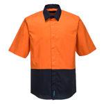 MF152-Food-Industry-Lightweight-Cotton-Shirt-Orange-Navy