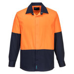 MF150-Food-Industry-Lightweight-Cotton-Shirt-Orange-Navy