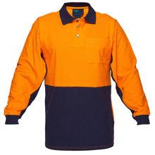 MD619-Long-Sleeve-Cotton-Pique-Polo-Orange-Navy