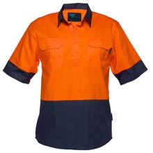 MC802-Hi-Vis-Two-Tone-Lightweight-SS-Shirt-Orange-Navy