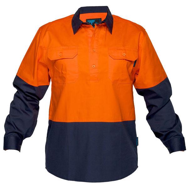 MC801-Hi-Vis-Two-Tone-Lightweight-LS-Shirt-Orange-Navy