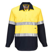 MC101-Hi-Vis-Two-Tone-Regular-Weight-LS-Shirt-Yellow-Navy