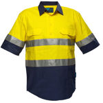 MC102-Hi-Vis-Two-Tone-Regular-Weight-SS-Shirt-Yellow-Navy