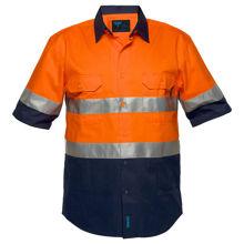 MA102-Hi-Vis-Two-Tone-Regular-Weight-SS-Shirt-Orange-Navy