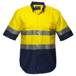 MA102-Hi-Vis-Two-Tone-Regular-Weight-SS-Shirt-Yellow-Navy
