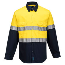 MA101-Hi-Vis-Two-Tone-Regular-Weight-LS-Shirt-Yellow-Navy
