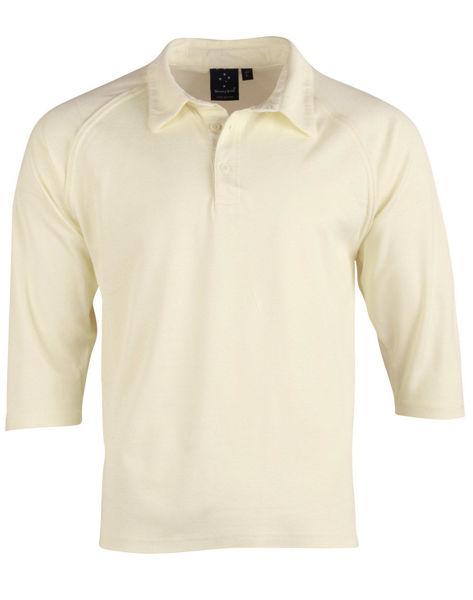 PS29Q-Cricket-Polo-3Q-Sleeve-Men's-Cream