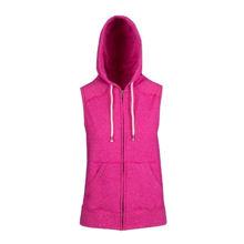 FZ77UN-Ladies-Junior-Heather-Sleeveless-Zip-Hoodies-Hot-Pink-Heather