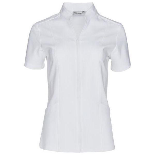 M8636S-Women's-Full-Zip-Front-SS-Tunic-White